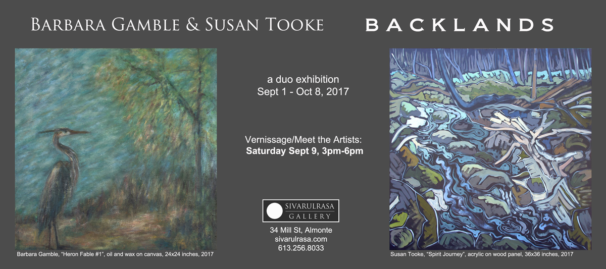 Backlands, a duo exhibition featuring works by Barbara Gamble and Susan Tooke at Sivarulrasa Gallery