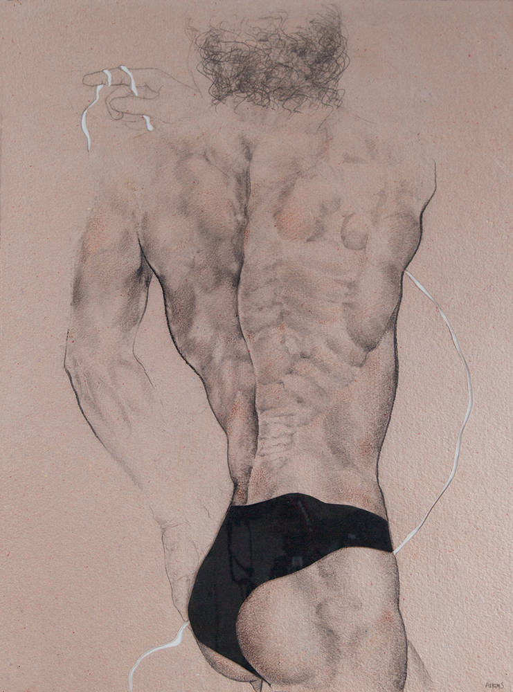 MALE STUDY, 36x24 inches