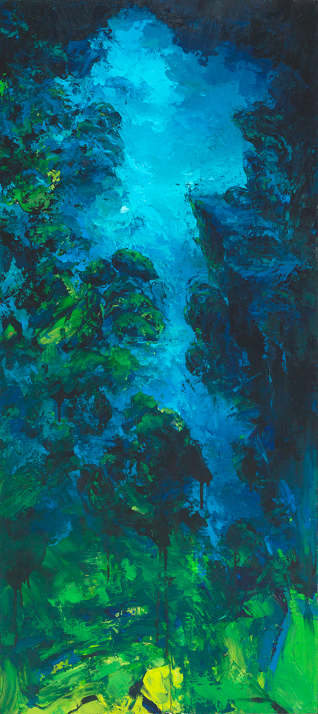 COBALT CHASM, 72×36 inches