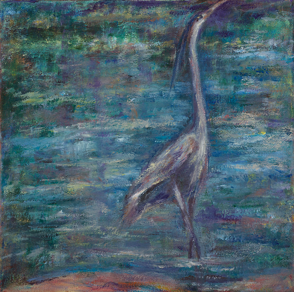 HERON IN POND, 10x10 inches