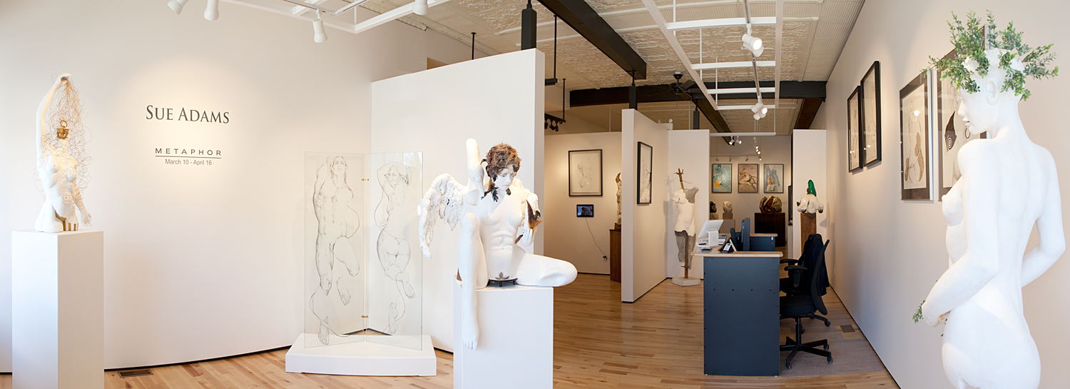 Sue Adams drawings and sculpture at Sivarulrasa Gallery in Almonte, Ontario