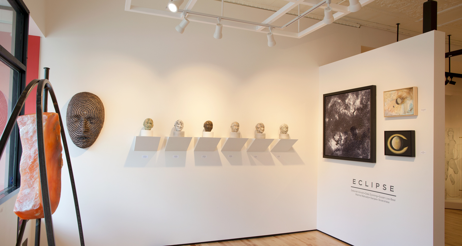 ECLIPSE, partial installation views at Sivarulrasa Gallery. Featured artists: Deborah Arnold, Dale Dunning, Susan Low-Beer, Marina Malvada, Sanjeev Sivarulrasa.