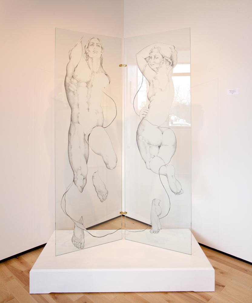 Artist Sue Adams drawings at Sivarulrasa Gallery in Almonte, Ontario