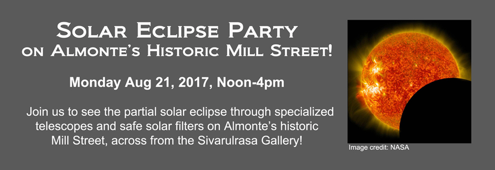 Solar Eclipse Party on Mill Street, Almonte, Ontario, presented by Sivarulrasa Gallery and the Town of Mississippi Mills